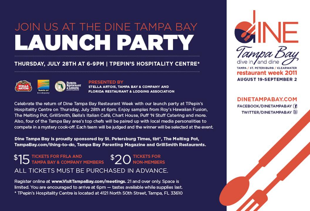 Dine Tampa Bay Launch Party tomorrow! :)