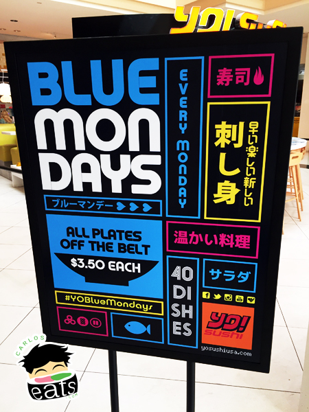 YO! Sushi Blue Mondays $3.50 deal