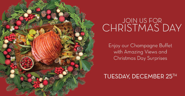 Rusty Pelican Christmas Day. Enjoy a champagne buffet with amazing views and Christmas Day surprises.