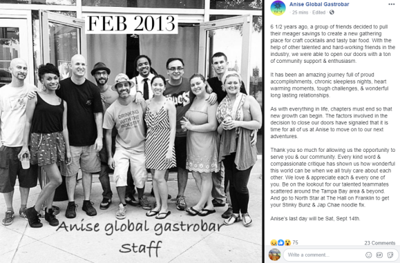 Anise Global Gastrobar closing down Facebook post