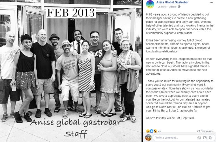 Anise Global Gastrobar closing down Facebook post