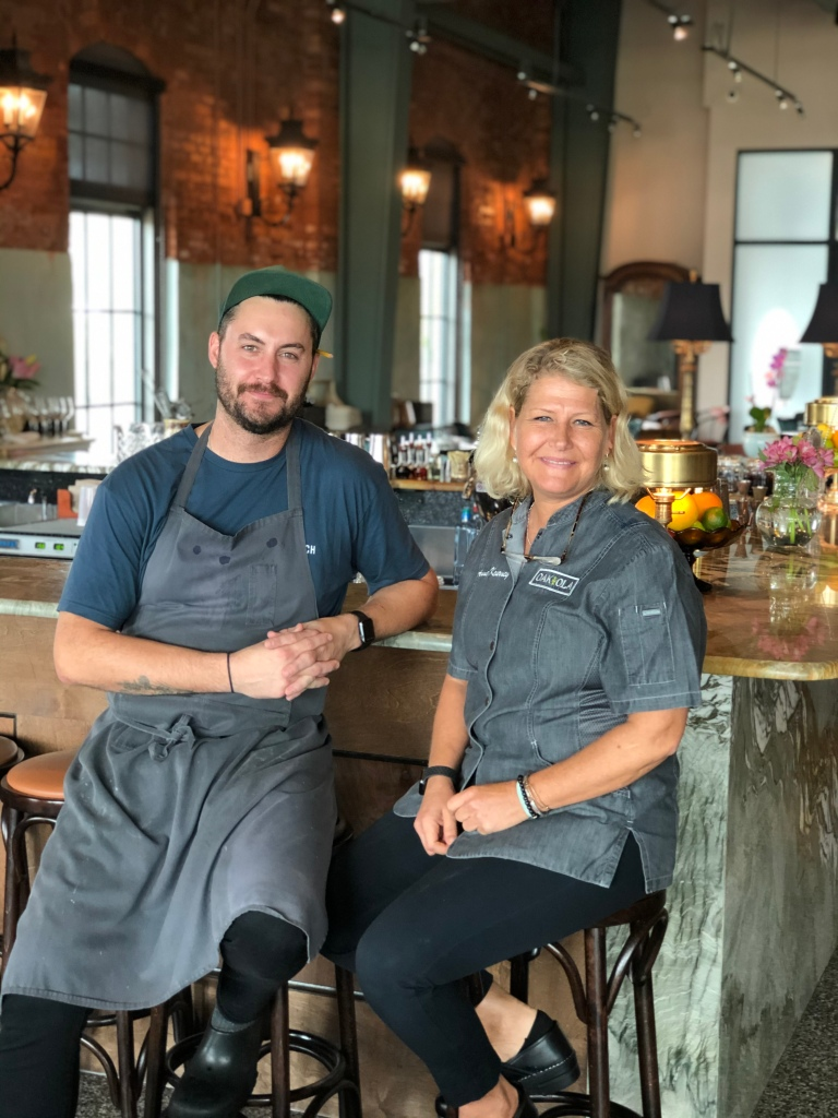 Chef Nathan Hardin of Steelbach and Chef Anne Kearney of Oak and Ola.