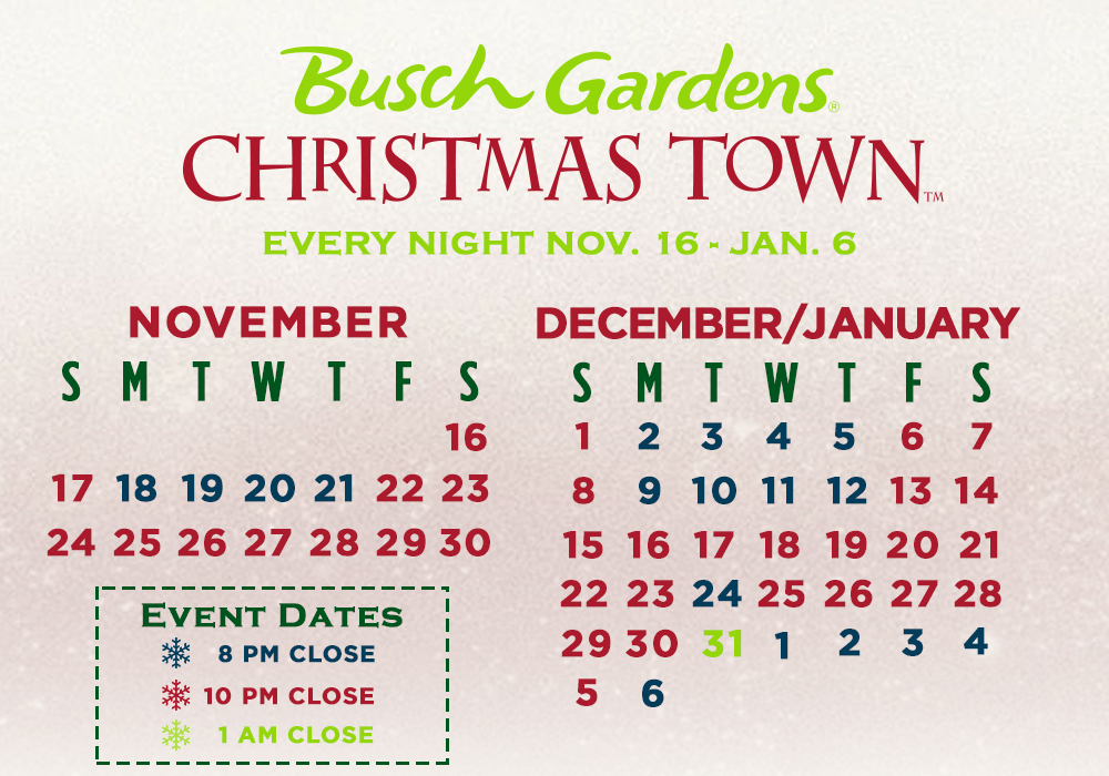 Busch Gardens Christmas Town schedule