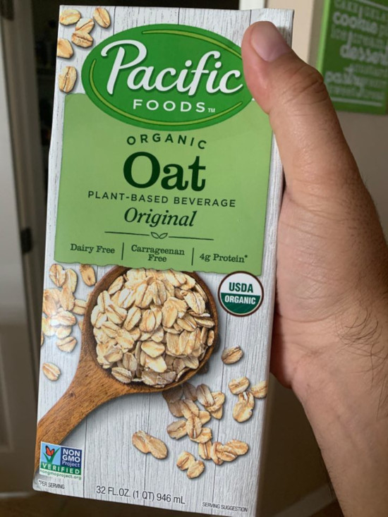 Pacific Foods Organic Oat Non-Dairy Beverage.