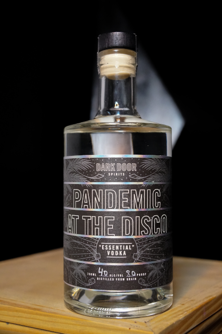 Pandemic at the Disco essential vodka from Dark Door Spirits. Proceeds benefit charitable organizations.